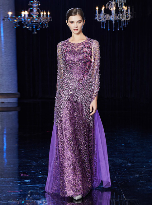 A-Line Purple Sequins Appliques Long Mother Of The Bride Dress With Shawl