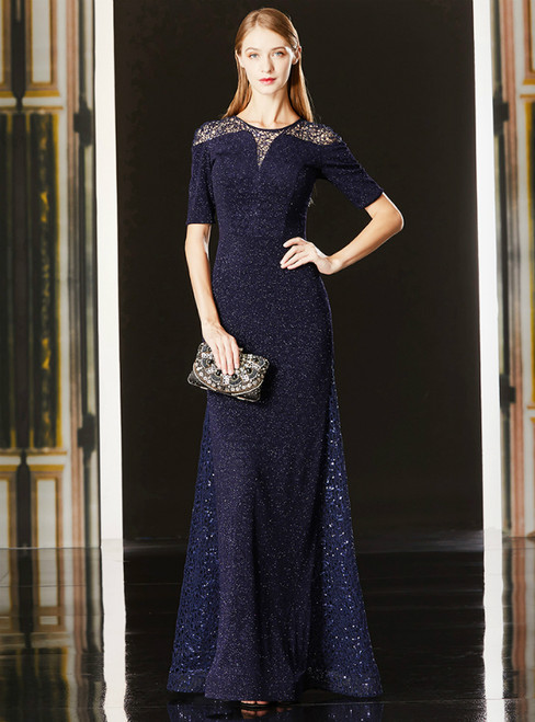 A-Line Navy Blue Lace Sequins Short Sleeve Long Mother Of The Bride Dress