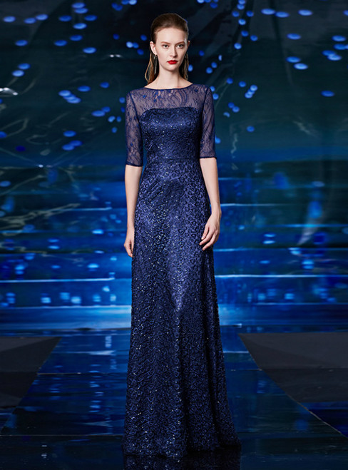 A-Line Blue Lace Sequins Short Sleeve Long Mother Of The Bride Dress