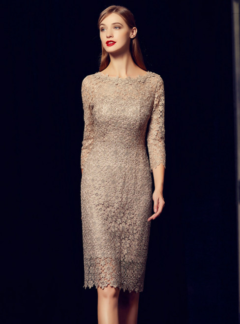 Sheath Gray Lace 3/4 Sleeve Knee Length Mother Of The Bride Dress
