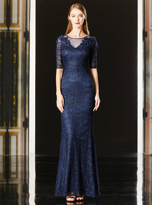 Mermaid Blue Lace Half Sleeve Appliques Long Mother Of The Bride Dress