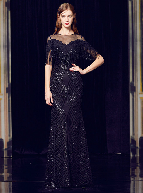 Black Mermaid Sequins Short Sleeve Long Mother Of The Bride Dress