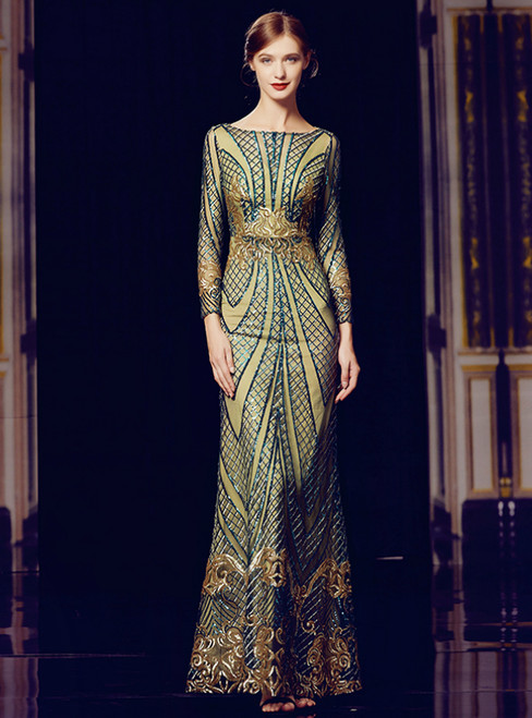 Green Sequins Sheath Long Sleeve Long Mother Of The Bride Dres