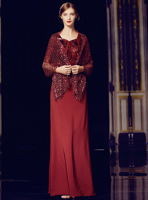 A-Line Burgundy Short Sleeve Sequins Long Mother Of The Bride Dress