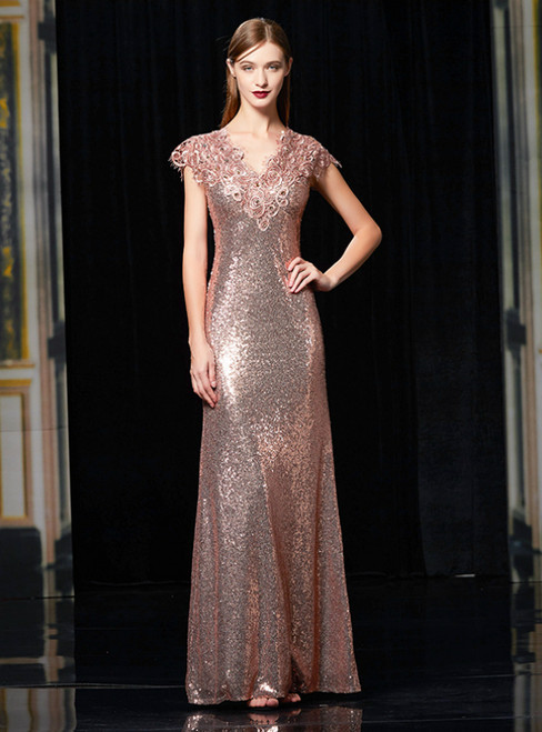 Pink Sequins Mermaid Cap Sleeve Appliques Long Mother Of The Bride Dress