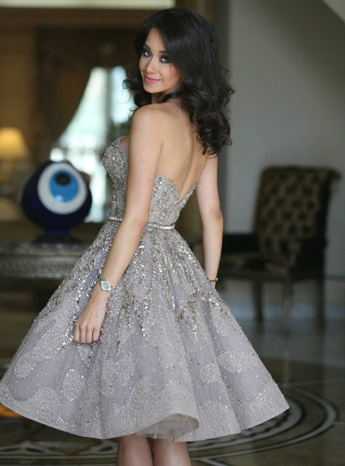 Gray Strapless Sequins Backless Knee length Homecoming Dress