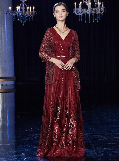A-Line Burgundy Tulle V-neck Half Sleeve Mother Of The Bride Dress With Sash