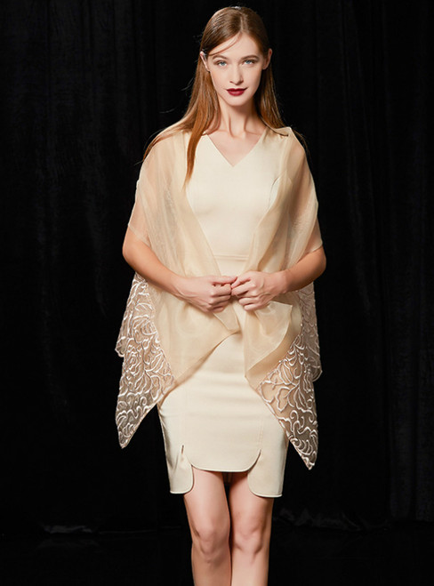 Sheath Champagne Satin V-neck Mother Of The Bride Dress With Embroidery Shawl