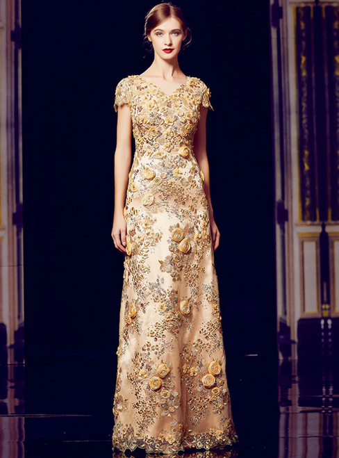 A-Line Gold Sequins Appliques V-neck Cap Sleeve Mother Of The Bride Dress
