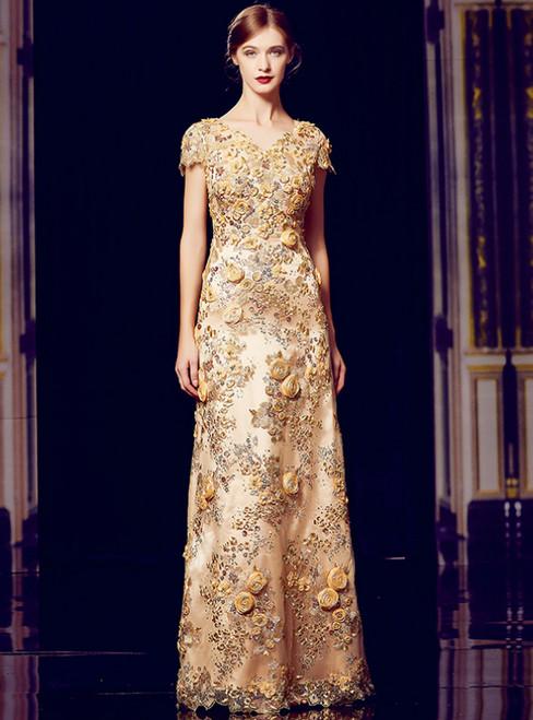 A-Line Gold Sequins Appliques V-neck Cap Sleeve Mother Of The Bride Dress