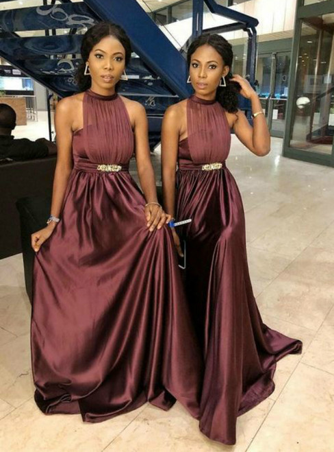 Burgundy Dramatic Halter Sleeveless Satin Bridesmaid Dress with Beaded
