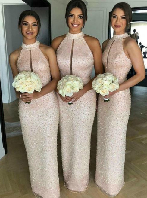 High Neck Pink Sleeveless Key Hole Long Bridesmaid Dress with Beaded