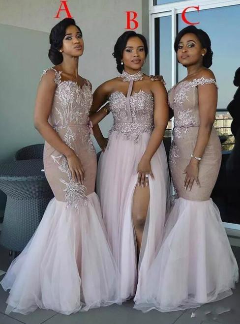 Pink Mermaid Appliques Off Shoulder Bridesmaid Dress Split Side