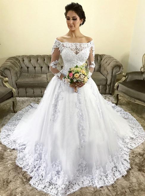 Vintage White Tulle Appliques Off The Shoulder Long Sleeve Wedding Dress