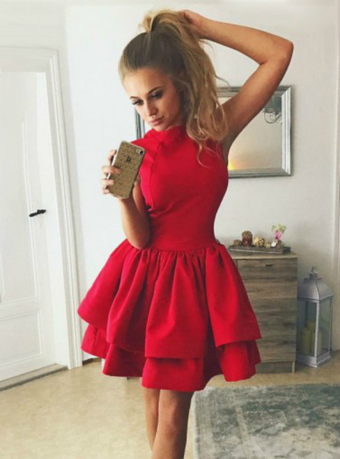 A-line Homecoming Dress Mini Short Sleeveless Prom Dresses