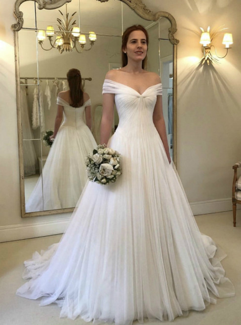 A-Line White Tulle Off The Shoulder Pleats Long Wedding Dress