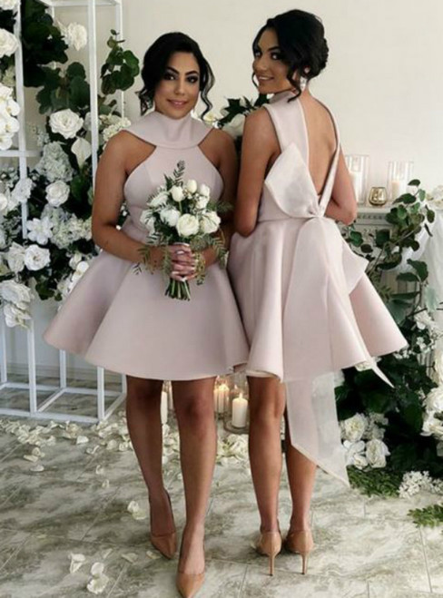 A-Line Sleeveless Short Pink Bridesmaid Dress With BowKno