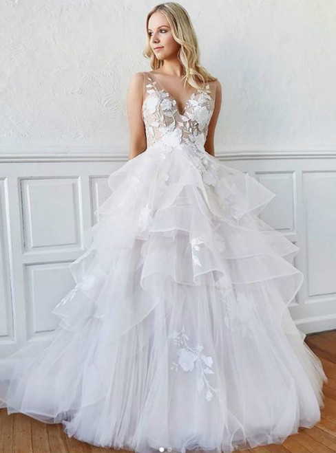 A-Line White Tulle Appliques V-neck Backless Wedding Dress
