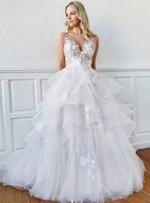 A-Line White Tulle Appliques V-neck Backless Wedding Dress