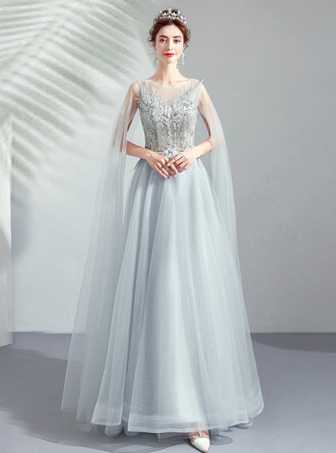 In Stock:Ship in 48 Hours Ready To Ship Gray Tulle Appliques Prom Dress