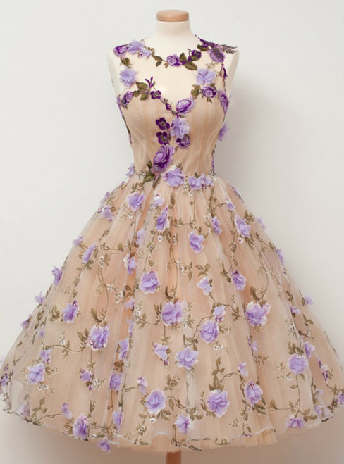 Tulle Homecoming Dress with Appliques Flowers Short Homecoming Dress