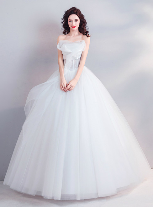 In Stock:Ship in 48 Hours White Strapless Tulle Corset Wedding Dress