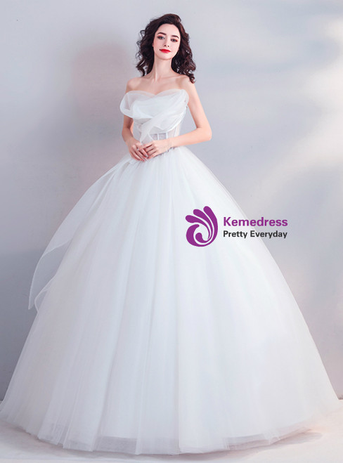 In Stockship In 48 Hours White Strapless Tulle Corset Wedding Dress