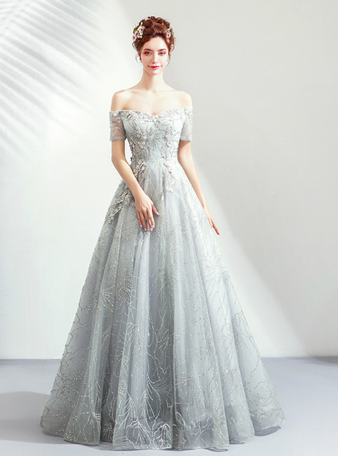In Stock:Ship in 48 Hours Gray Tulle Sequins Off The Shoulder Prom Dress