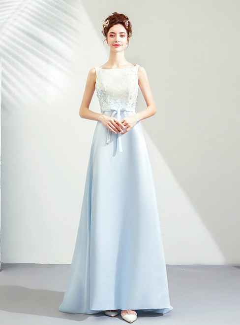In Stock:Ship in 48 Hours Light Blue Mermaid Satin Appliques Prom Dress