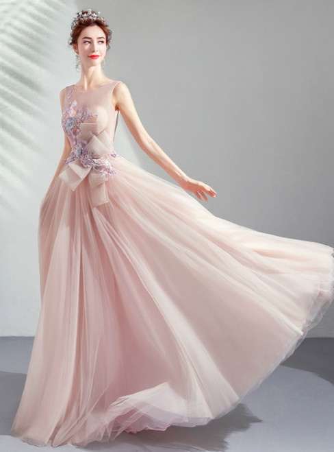 In Stock:Ship in 48 Hours Pink Tulle Appliques Backless Prom Dress