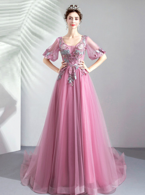 In Stock:Ship in 48 Hours Pink Tulle V-neck Appliques Long Prom Dress