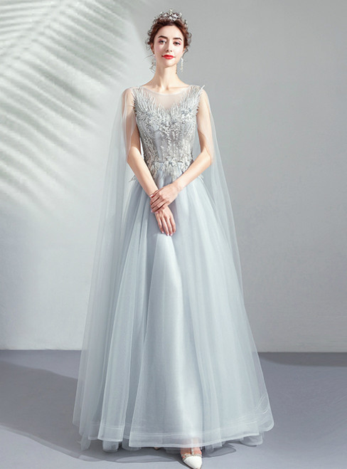 In Stock:Ship in 48 Hours Gray Tulle Appliques Backless Prom Dress