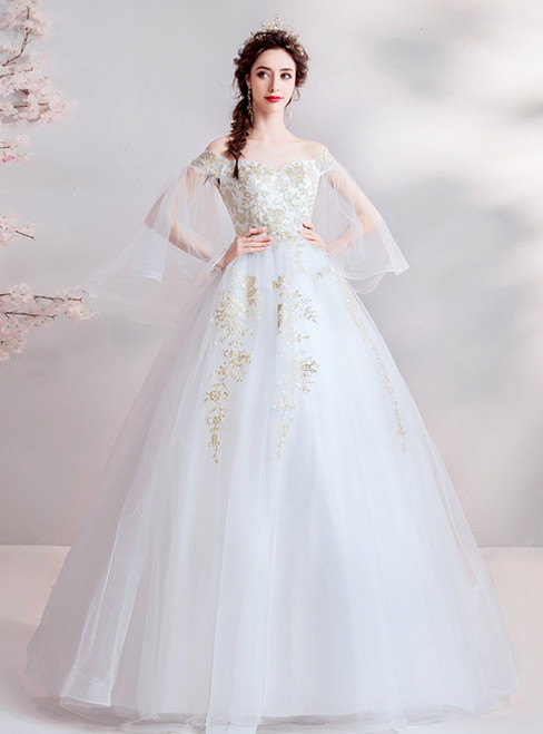 In Stock:Ship in 48 Hours White Ball Gown Tulle Appliques Wedding Dress