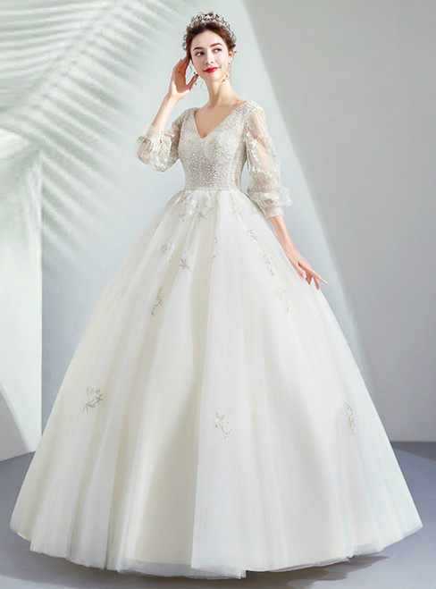 In Stock:Ship in 48 Hours Tulle Long Sleeve V-neck Wedding Dress