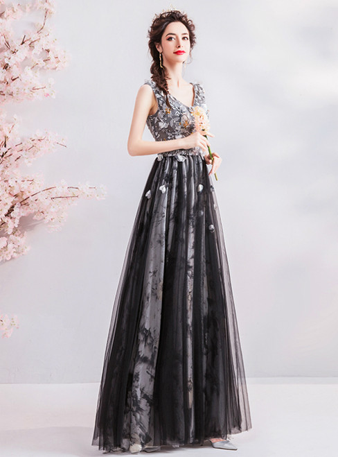 In Stock:Ship in 48 Hours Black Tulle V-neck Appliques Prom Dress