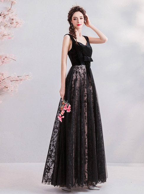 In Stock:Ship in 48 Hours Black Tulle Velvet Long Prom Dress