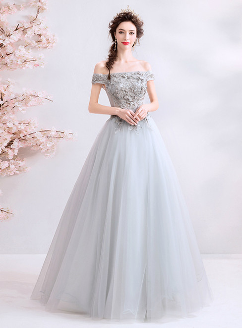 In Stock:Ship in 48 Hours Gray Tulle Off The Shoulder Appliques Prom Dress