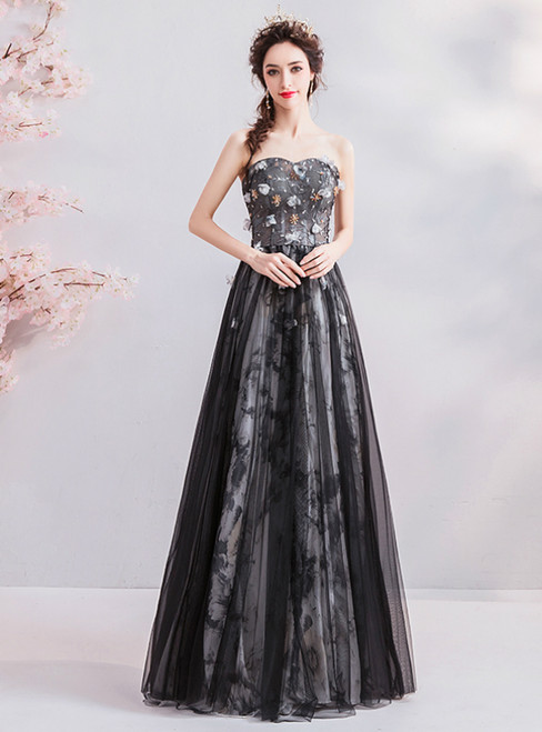 In Stock:Ship in 48 Hours Black Tulle Strapless Appliques Prom Dress