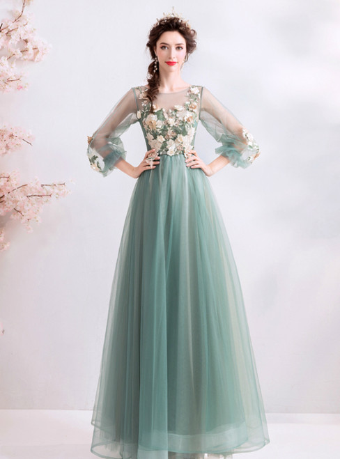 In Stock:Ship in 48 Hours Long Emerald Tulle Appliques Prom Dress