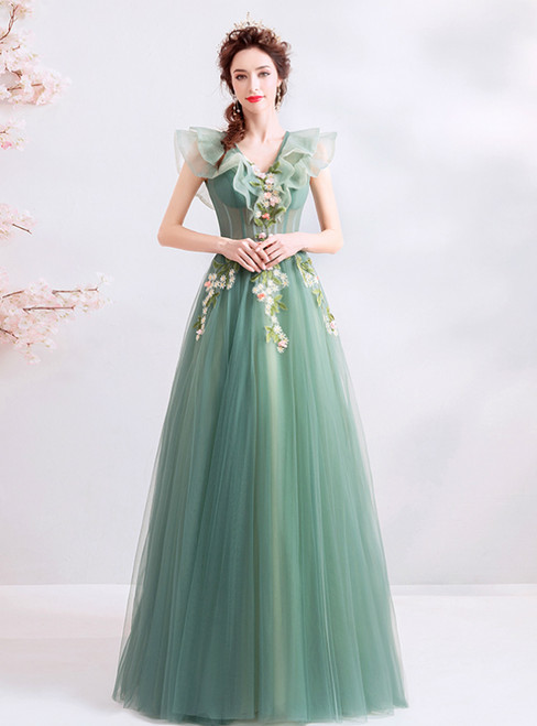 In Stock:Ship in 48 Hours Green Tulle V-neck Appliques Prom Dress