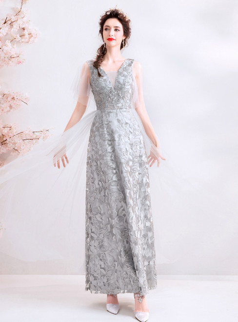 In Stock:Ship in 48 Hours Gray Tulle Lace V-neck Long Prom Dress