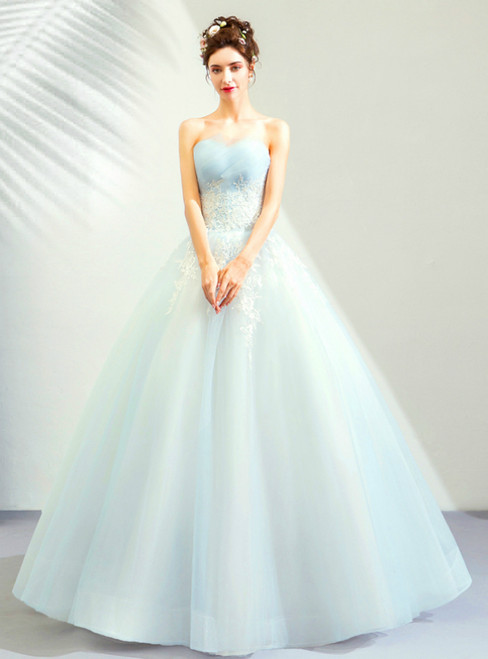 In Stock:Ship in 48 Hours Light Blue Tulle Appliques Wedding Dress