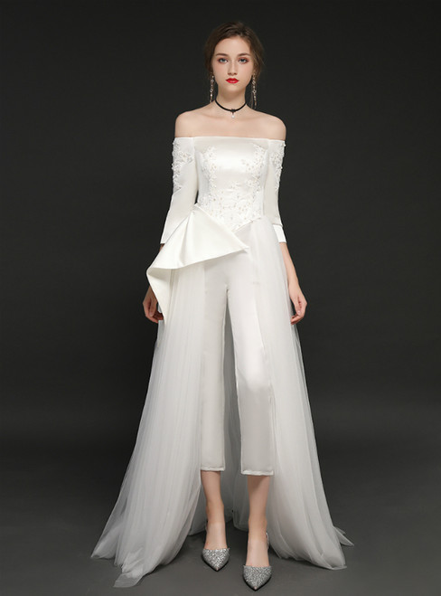 White Tulle Long Sleeve Off The Shoulder Trouser Skirt Prom Dress
