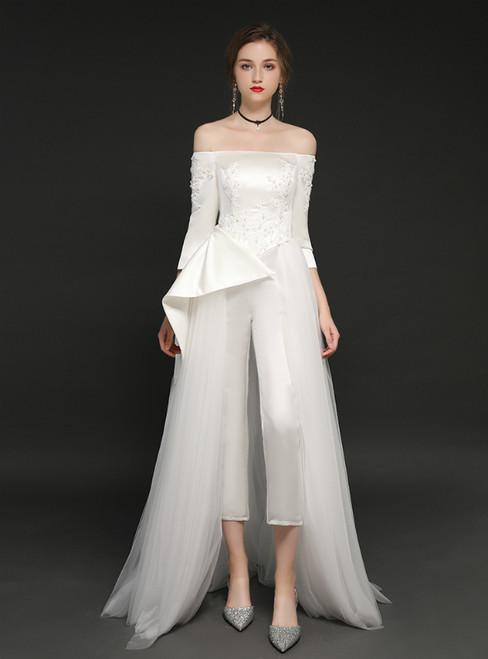 White Tulle Long Sleeve Off The Shoulder Trouser Skirt Prom Dress