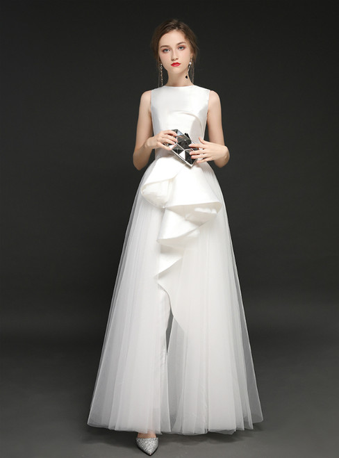 Simple White Tulle Satin Long Trouser Skirt Prom Dress