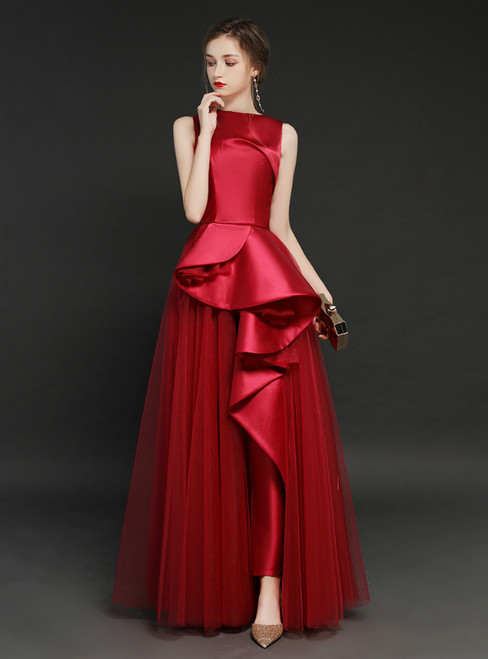Burgundy Tulle Satin Long Trouser Skirt Prom Dress