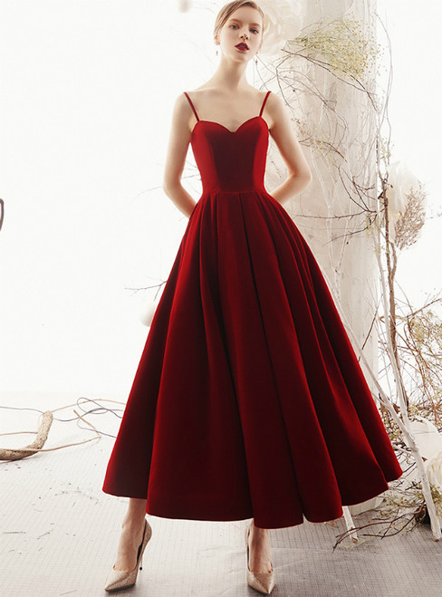 Burgundy Velvet Spaghetti Straps Backless Ankle Length Prom Dress