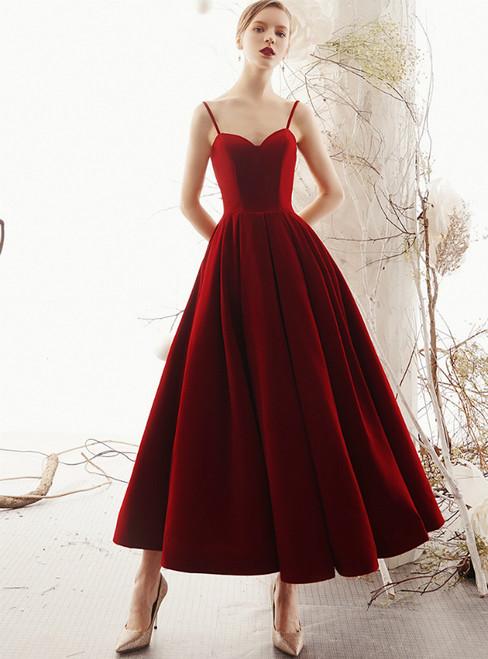ff26350d9f3 Burgundy Velvet Spaghetti Straps Backless Ankle Length Prom Dress
