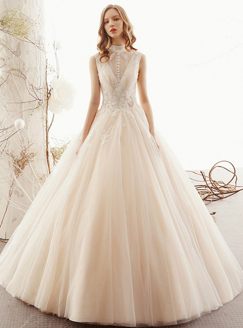 Champagne Ball Gown Tulle High Neck Backless Floor Length Wedding Dress
