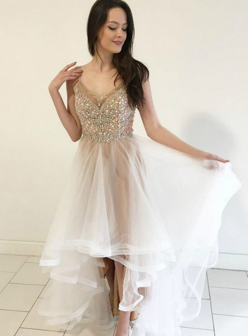 Champagne High Low Spaghetti Straps Prom Dress With Crystal